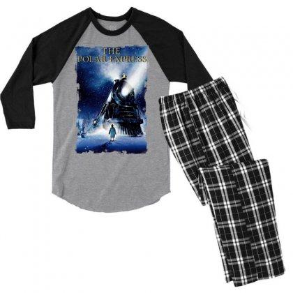 The Polar Express Christmas Men's 3/4 Sleeve Pajama Set Designed By Sengul
