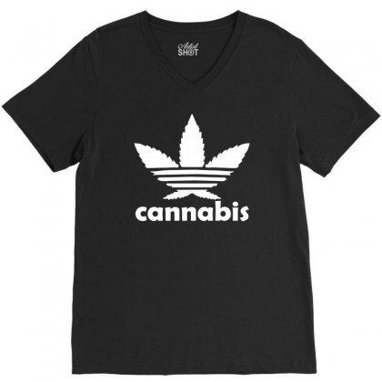 Cannabis V-neck Tee Designed By Mdk Art