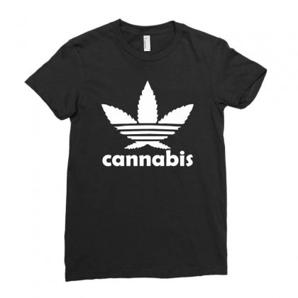 Cannabis Ladies Fitted T-shirt Designed By Mdk Art