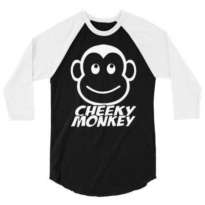 Cheeky Monkey Funny 3/4 Sleeve Shirt Designed By Mdk Art