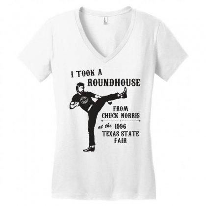 Chuck Norris Shirt Funny Chuck Norris Tshirts Vintage 80s Movie Shirts Women's V-neck T-shirt Designed By Tee Shop