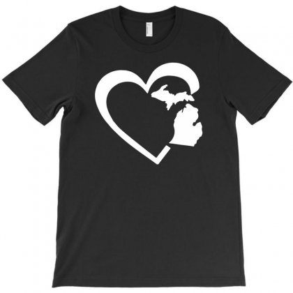 Michigan Heart Love T-shirt Designed By Tonyhaddearts