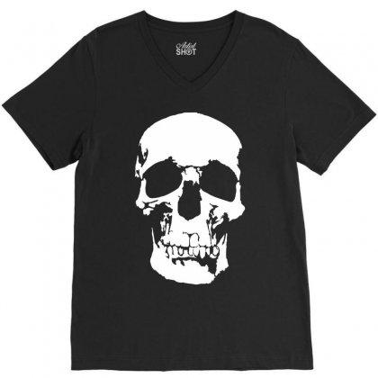 Tone Skull V-neck Tee Designed By Mdk Art