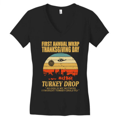 First Anuual Wkrp Turkey Drop With Les Nessman Distressed Women's V-neck T-shirt Designed By Blqs Apparel