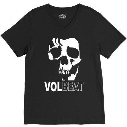 Volbeat Danish Rock Band Cool Skull V-neck Tee Designed By Mdk Art