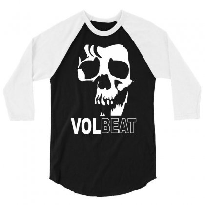 Volbeat Danish Rock Band Cool Skull 3/4 Sleeve Shirt Designed By Mdk Art