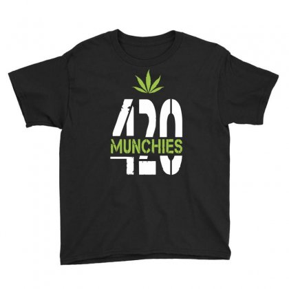 420 Munchies Weed Leaf Youth Tee Designed By Mdk Art