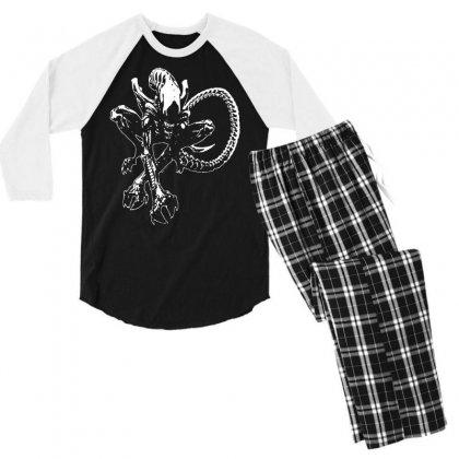 Alien Movie Xenomorph Men's 3/4 Sleeve Pajama Set Designed By Mdk Art