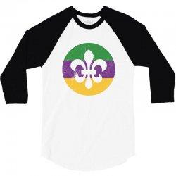 mardi gras symbol grunge 3/4 Sleeve Shirt   Artistshot