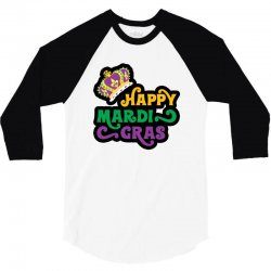 happy mardi gras for light 3/4 Sleeve Shirt | Artistshot