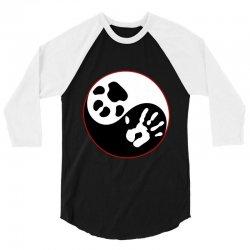 Yin Yang Human Hand Dog Paw 3/4 Sleeve Shirt   Artistshot