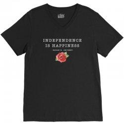 independence is happiness susan b. anthony for dark V-Neck Tee   Artistshot
