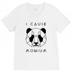 i cause panda monium   black V-Neck Tee   Artistshot