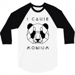 i cause panda monium   black 3/4 Sleeve Shirt   Artistshot