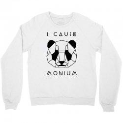 i cause panda monium   black Crewneck Sweatshirt   Artistshot