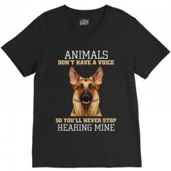 animals don't have a voice so you'll never stop hearing mine V-Neck Tee   Artistshot