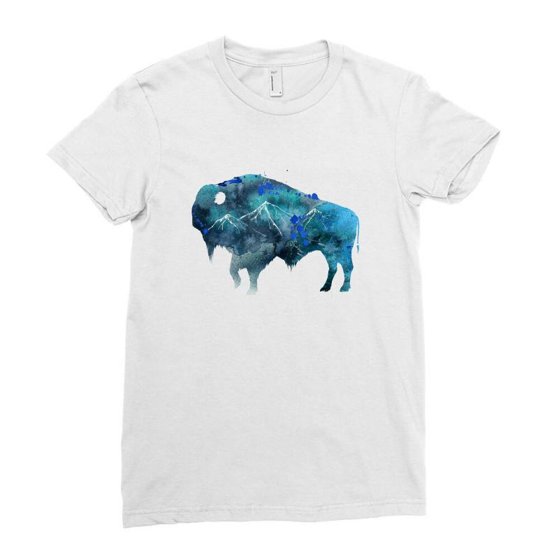 Bison Watercolor Ladies Fitted T-shirt | Artistshot