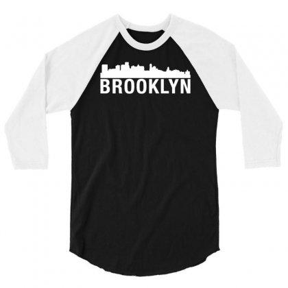 Brooklyn City Skyline Silhouette Urban 3/4 Sleeve Shirt Designed By Narayatees