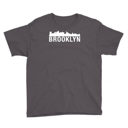 Brooklyn City Skyline Silhouette Urban Youth Tee Designed By Narayatees