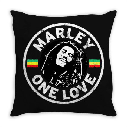 Bob Marley   One Love Throw Pillow Designed By Frizidan