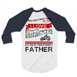 This Father Loves Motorcycles 3/4 Sleeve Shirt | Artistshot