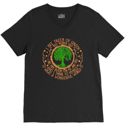 Trees Of Green V-neck Tee Designed By Frizidan