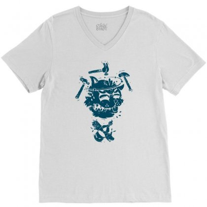 Dizzy Drunk Cat V-neck Tee Designed By Mdk Art