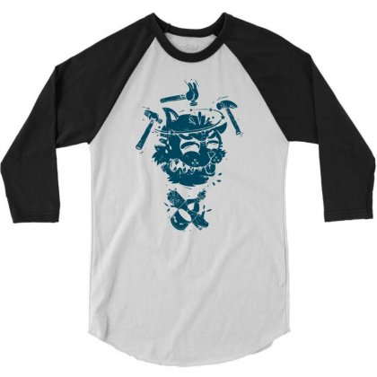Dizzy Drunk Cat 3/4 Sleeve Shirt Designed By Mdk Art