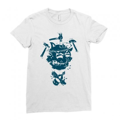 Dizzy Drunk Cat Ladies Fitted T-shirt Designed By Mdk Art