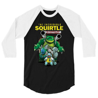 The Incredible Squirtle 3/4 Sleeve Shirt Designed By Feniavey