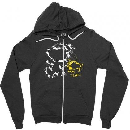 Splatter Snoopy & Woodstock Zipper Hoodie Designed By Mdk Art