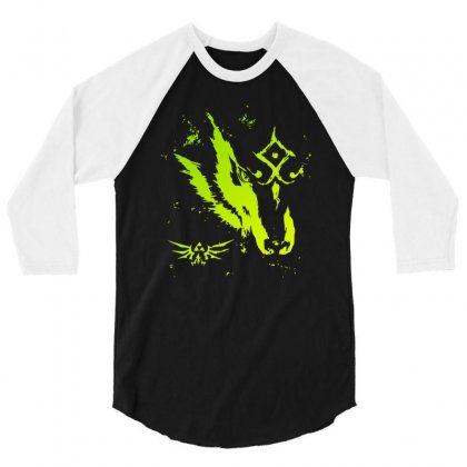 Wolf Link 3/4 Sleeve Shirt Designed By Mdk Art