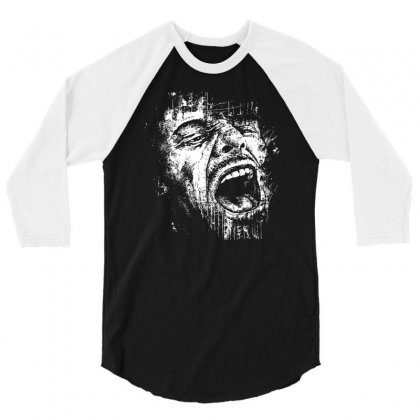 Scream Face 3/4 Sleeve Shirt Designed By Mdk Art