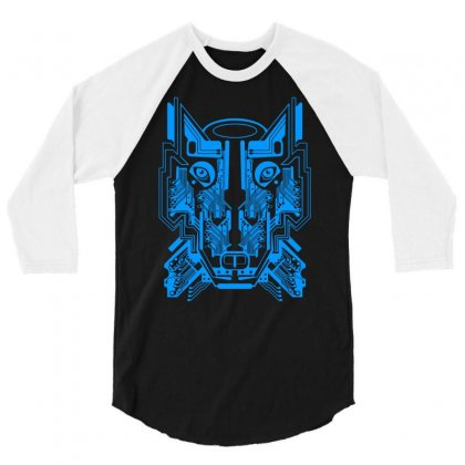 Circuit Wolf 3/4 Sleeve Shirt Designed By Apuy