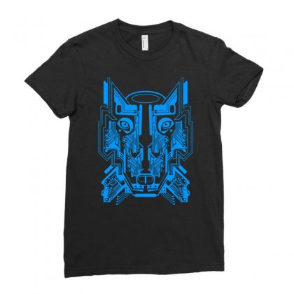 Circuit Wolf Ladies Fitted T-shirt Designed By Apuy