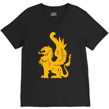 Griffin Griffon Gryphon V-neck Tee Designed By Mdk Art