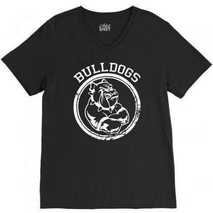 Bulldog Sports Team V-neck Tee Designed By Mdk Art