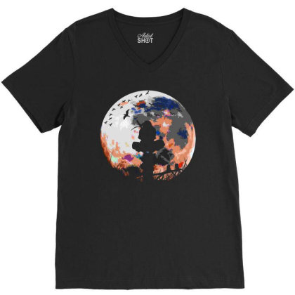 Fighter On The Moon V-neck Tee Designed By Frizidan