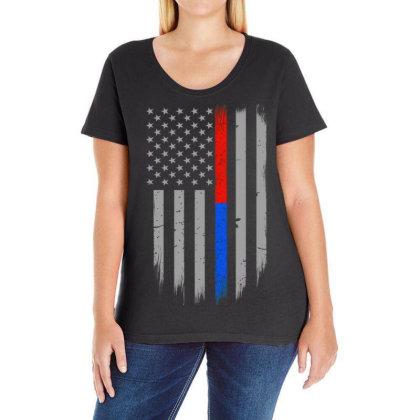 Trump Thin Red Blue Line Ladies Curvy T-shirt Designed By Kakashop