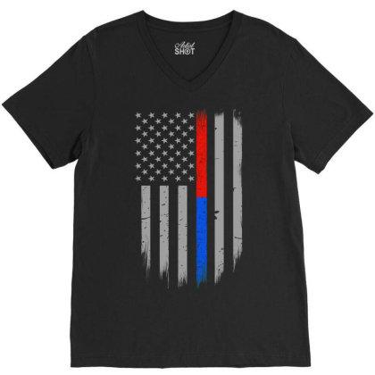 Trump Thin Red Blue Line V-neck Tee Designed By Kakashop