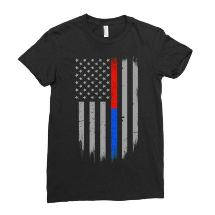 Trump Thin Red Blue Line Ladies Fitted T-shirt Designed By Kakashop