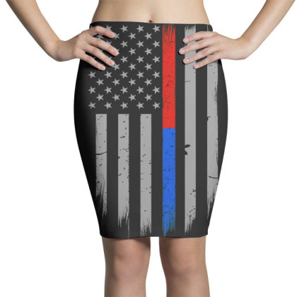 Trump Thin Red Blue Line Pencil Skirts Designed By Kakashop