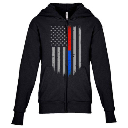 Trump Thin Red Blue Line Youth Zipper Hoodie Designed By Kakashop