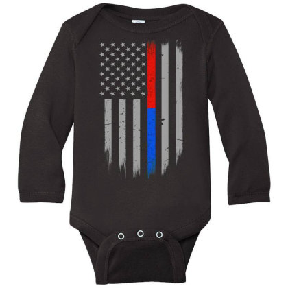 Trump Thin Red Blue Line Long Sleeve Baby Bodysuit Designed By Kakashop