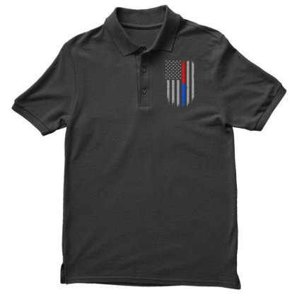 Trump Thin Red Blue Line Men's Polo Shirt Designed By Kakashop