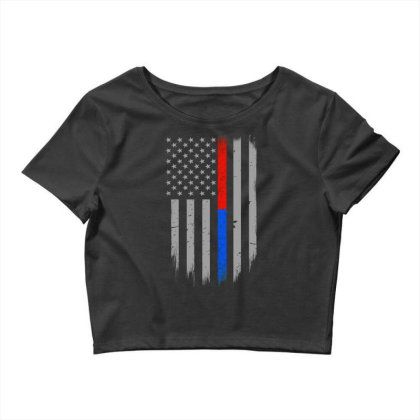 Trump Thin Red Blue Line Crop Top Designed By Kakashop