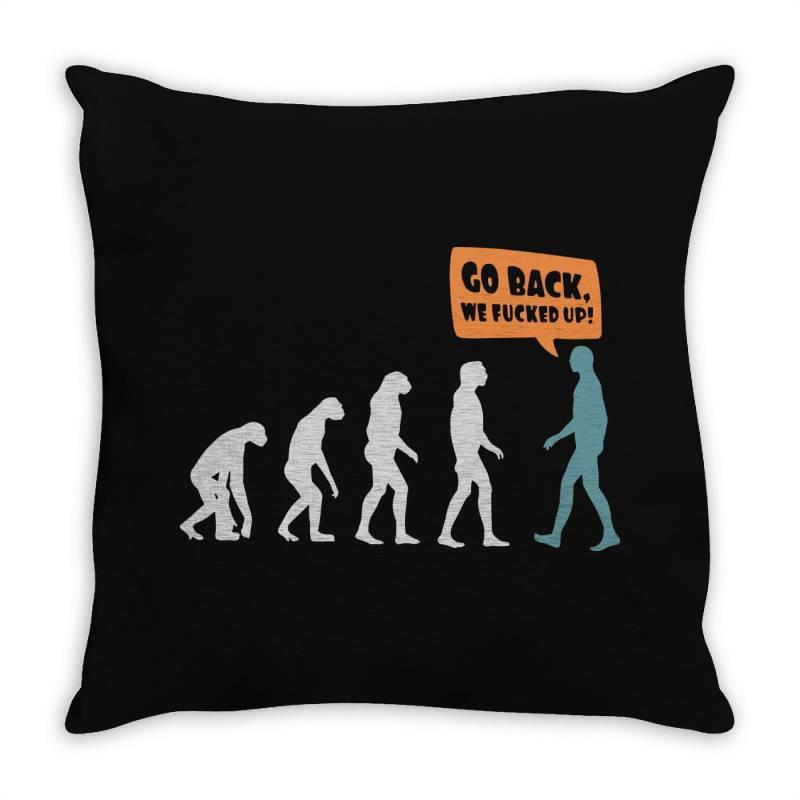 Evolution   Go Back Throw Pillow   Artistshot
