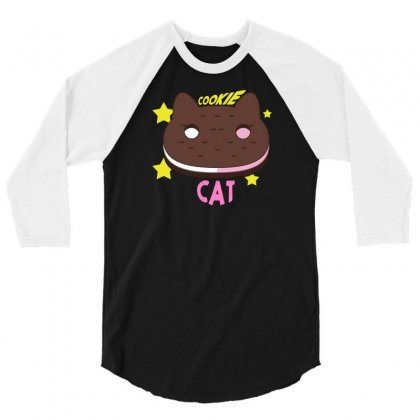 Cookie Cat 3/4 Sleeve Shirt Designed By Thesamsat