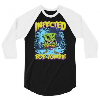 Infected Bob Zombie 3/4 Sleeve Shirt Designed By Ditreamx