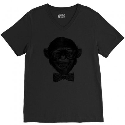 Chimp Grin V-neck Tee Designed By Chilistore
